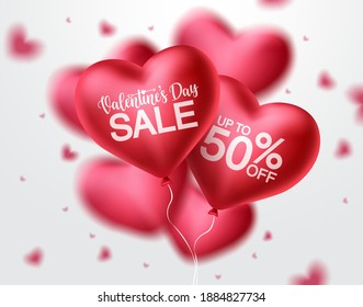 Valentines day sale heart balloon vector banner design. Happy valentines day sale promotion text with red heart balloon elements in blurred background. Vector illustration.