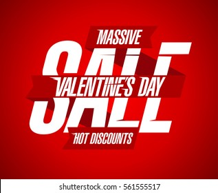 Valentine's day sale, hot discounts, red and white design with ribbons