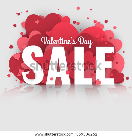 Valentines Day Sale Letters Hearts Valentine Stock Vector Royalty