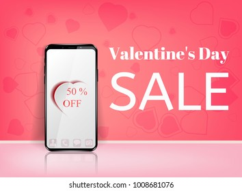 Valentine's day sale offer, banner template. Pink heart with lettering, isolated on blue background. Valentines Heart sale tags. Shop market poster design.