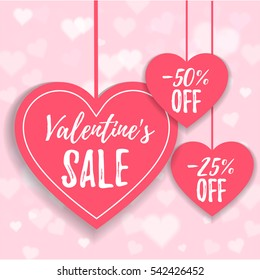 Valentine's day sale offer, banner template. Pink heart with lettering, isolated on pink background. Valentines Heart sale with cupidon. Shop market poster design. Vector