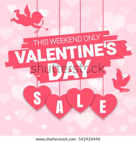 Valentines Day Sale Offer Banner Template Stock Vector Royalty Free