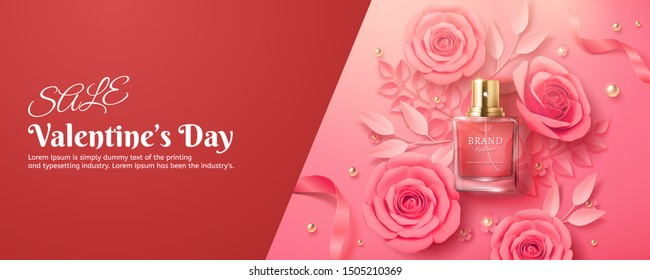Valentine's Day sale perfume ads with paper pink roses, flat lay 3d illustration design
