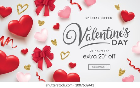 Valentines day sale poster with 3D hearts, ribbons and golden glitter hearts