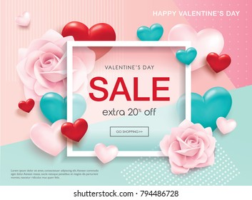 Valentines day sale poster with 3D hearts and roses