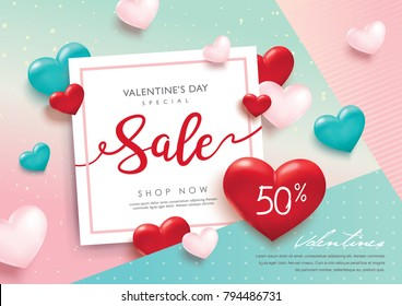 Valentines day sale poster with 3D hearts