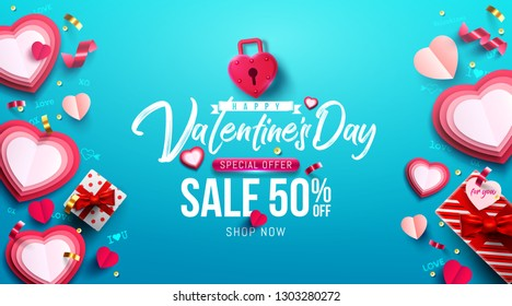 Valentine's Day Sale Poster or banner with sweet gift,sweet heart and lovely items on blue background.Promotion and shopping template or background for Love and Valentine's day concept.Vector EPS10