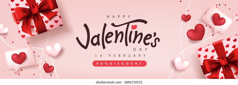 Valentine's day sale poster or banner backgroud with gift box and heart.