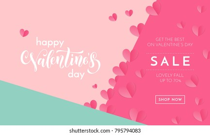 Valentines day sale poster or banner of valentine red heart on trendy background. Vector Valentines day holiday shop discount promo design template of lovely paper hearts