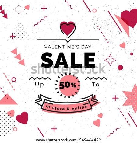 3b284f69c1680 Valentine s Day Sale poster with geometric shapes and hearts. Sale  background in retro 80s