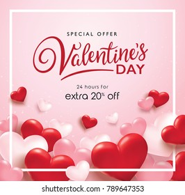 Valentines day sale poster with red and pink hearts background