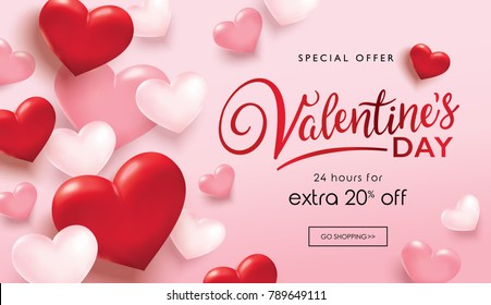 Valentine's day sale poster with red and pink hearts background