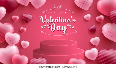 Valentine's Day Sale Promotion Background with Realistic Hearth or Love Shape and 3D Podium