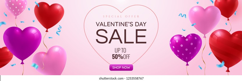 Valentines day Sale promotion web banner with glossy red, pink and purple balloons on pinky background. Falling blue festive confetti. St. Valentine's Day greeting card template. Vector eps 10.