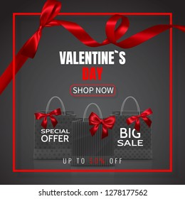 Valentines Day Sale. Realistic Paper shopping bag with handles and red bow, ribbon, isolated on dark background. Vector illustration.