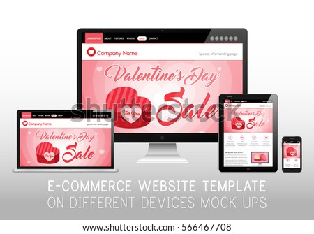 Valentines Day Sale Shop Ecommerce Website Stock Vector (Royalty ...
