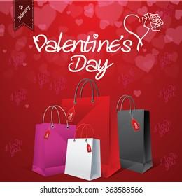 Valentine's day sale shopping bag background EPS 10 vector stock illustration