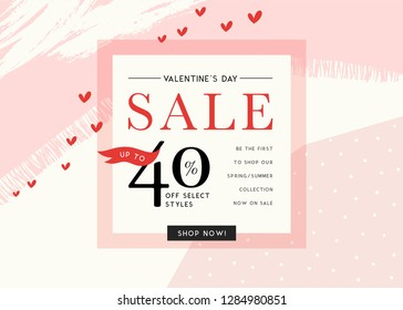 Valentine's Day sale sign design in contemporary style. Vector illustration.