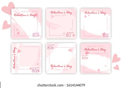 Valentines day sale Social Media post collection Set Brush Pink