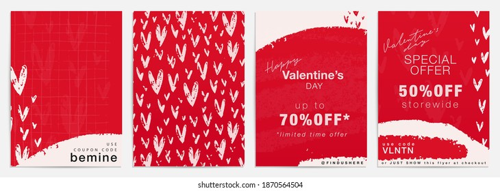 Valentines day sale and special offer flyer template set. Red seamless pattern with hearts for advertisement banner design. Vertical 5x7 pre-made blank card with modern graphic and organic shapes.