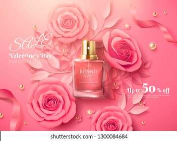 Valentine's day sale template with pink paper flowers and perfume product in 3d illustration, top view