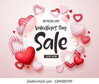 Valentines day sale vector banner. Sale discount promotion text in white frame with red valentines hearts elements in white background. Vector illustration.