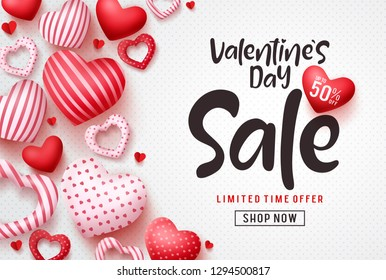 Valentines day sale vector banner template. Valentines day sale discount text with hearts elements in white pattern background. Vector illustration.