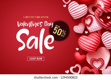 Valentines day sale vector banner design. Valentines day sale discount text with heart shapes elements in red pattern background. Vector illustration.