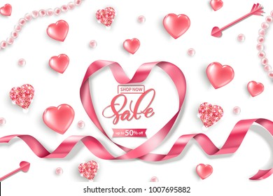 Valentine's Day sale web banner. Top view on composition with pink glittering hearts, pink pearls, heart pink ribbon. Vector template.