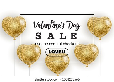 Valentine's Day sale web banner, flyer concept. Golden glitter cute balloons in shape of heart, isolated on white background, black frame, promo text, vector illustration.