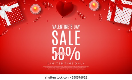 Valentine's Day sale web banner. Top view on composition with gift box, case for ring, candles and confetti. Vector illustration.