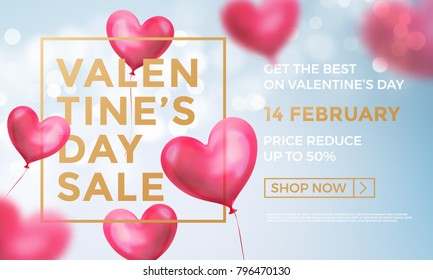 Valentines day sale web banner of valentine red heart balloons on blue shine background. Vector Valentines day sale golden text for holiday shop discount promo design template of air ballon hearts