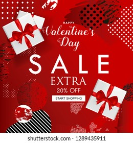 Valentines Day sale website banner. Sale tag. Sale promotional material vector illustration design for social media banner, poster, newsletter, ad, leaflet, placard, brochure, flyer, web sticker
