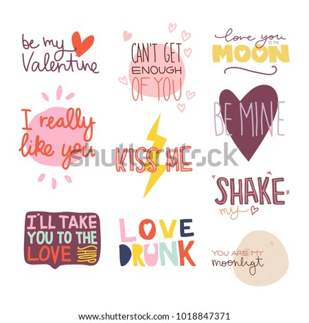 Valentines Day Sayings Wishes Set Text Stock Vector Royalty Free