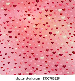 Valentines day seamless background with pink, purple and white hearts. For 14 February, Valentines day greeting card, wallpaper, flyers, posters or wedding invitation background party design.