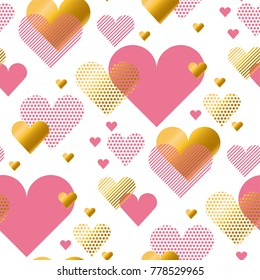 Valentines Day seamless modern luxury pattern. Festive abstract background with gold and pink hearts for cards, banner, posters, wallpapers, textile, surface design, wrapping papers, packaging.