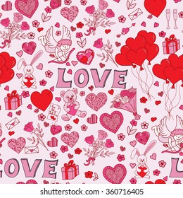Valentines day seamless pattern background. Love symbols. Vector illustration
