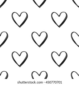 Valentines Day Seamless Pattern Black Glitter Stock Vector Royalty