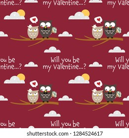 Valentine's Day seamless pattern with cute couple owls with will you be my valentine? and Happy Valentine's Day text.