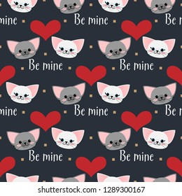 Valentine's Day seamless pattern with cute couple cats and heart with Be mine text.