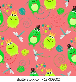 Valentines day seamless pattern with frogs