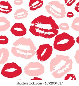 Valentine's day seamless pattern with lipstick traces. Love, romantic background