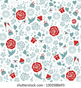 Valentines day seamless pattern. Love sign background with roses, pigeons, hearts, letters, gift boxes, music in red and blue tones. Vector for greeting  card, wrapping paper, textile, banner