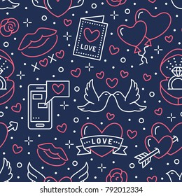 Valentines day seamless pattern. Love, romance flat line icons - hearts, engagement ring, kiss, balloons, doves, valentine card. Red, blue wallpaper for february 14 celebration.