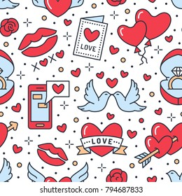 Valentines day seamless pattern. Love, romance flat line icons - hearts, engagement ring, kiss, balloons, doves, valentine card. Red, whiten blue colored wallpaper for february 14 celebration.