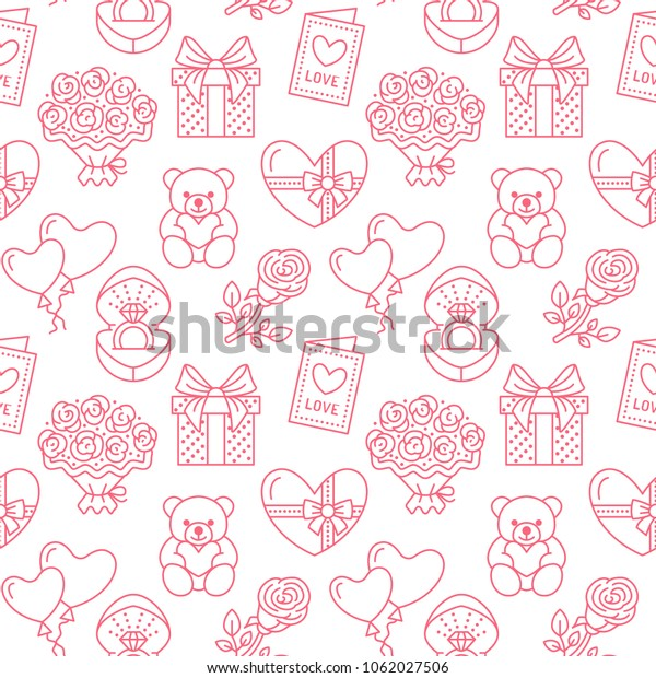 Valentines Day Seamless Pattern Love Romance Stock Vector Royalty