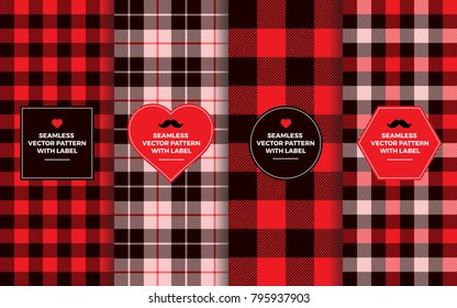 Valentine's Day Seamless Patterns with Label Frames. Pink, Red & Black Buffalo Check and Tartan Plaid. Textures & Badges with Copy Space for Text. Design Templates for Packaging, Covers, Gift Wrap.
