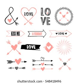 Valentines Day set with florals, love lettering, overlays, speech bubbles and etc. Template for Stickers, Greeting Scrapbooking, Congratulations, Invitations, Planners.