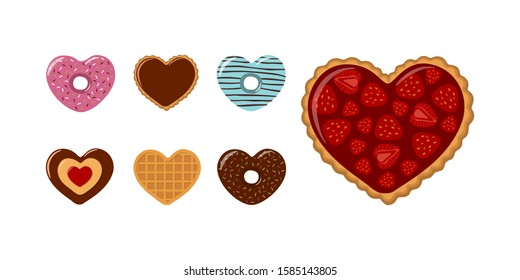 Valentines Day. Set of heart-shaped cookies, donuts and waffles with strawberries and chocolate. Vector illustration