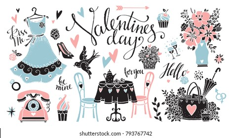 Valentines day set. Isolated on white background. Handwritten font, hand drawn